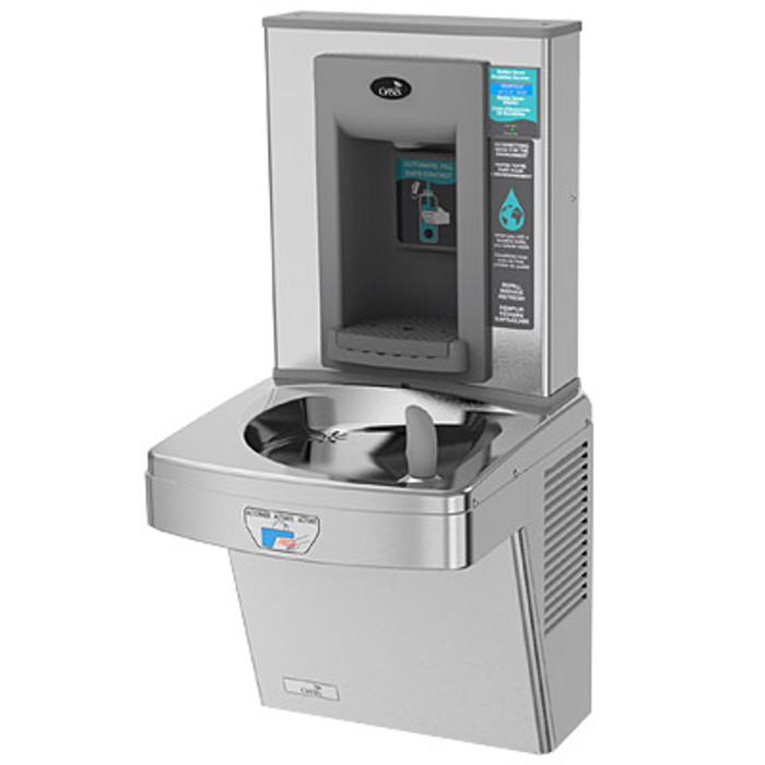 Oasis PGEBFT STN Contactless Drinking Fountain with Electronic Sports Bottle Filler, Sensor Activated, Touch Free, Non-Filtered, Non-Refrigerated, Stainless Steel