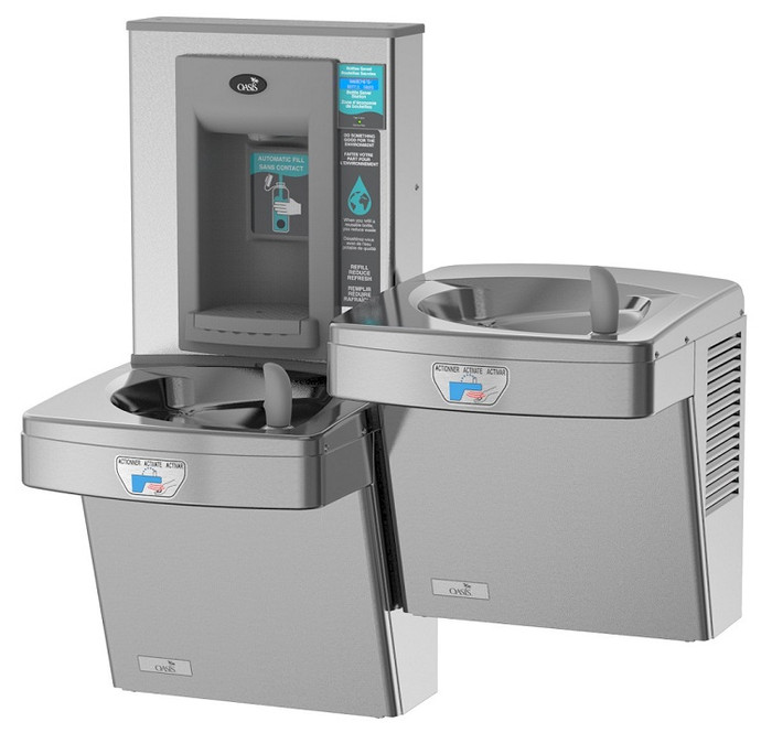 Oasis PGF8EBFSLTT STN Contactless Bi-Level Refrigerated Drinking Fountain with Electronic Sports Bottle Filler, Sensor Activated, Touch Free, 8 GPH, Filtered, Stainless Steel