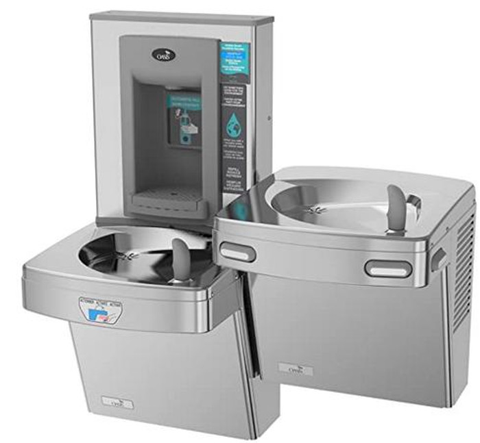 Oasis PGEBFSLTM Contactless Bi-Level Drinking Fountain with Electronic Sports Bottle Filler, Only One Unit is Sensor Activated, Non-Filtered, Non-Refrigerated