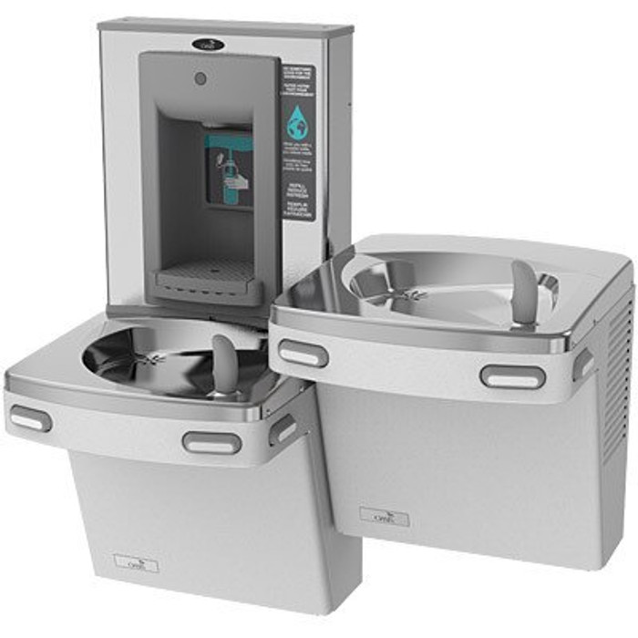 Oasis PG8SBFSL STN Refrigerated Drinking Fountain with Mechanical Activation Sports Bottle Filler, Bi-Level, ADA, 8 GPH, Non-Filtered, Stainless Steel