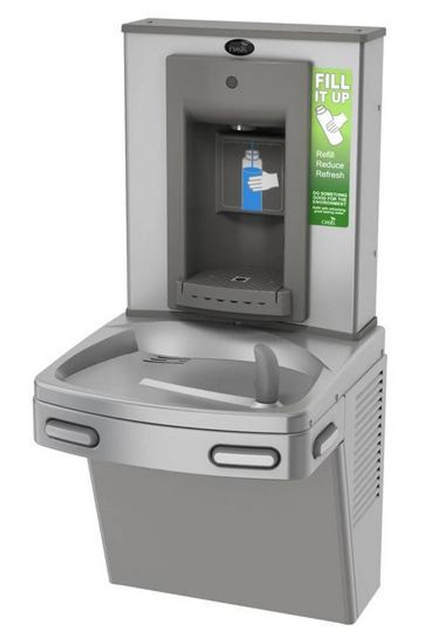 Oasis PGSBF CSTN Drinking Fountain and Bottle Filler, Antimicrobial Copper, VersaFiller with Mechanical Activation, Non-Filtered, Non-Refrigerated, Stainless Steel