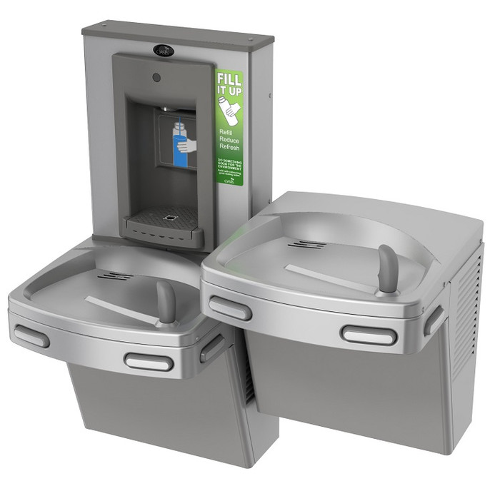 Oasis PG8SBFSL CSTN Refrigerated Drinking Fountain with Mechanical Activation Sports Bottle Filler, Bi-Level, Antimicrobial Copper, 8 GPH, Non-Filtered, Stainless Steel