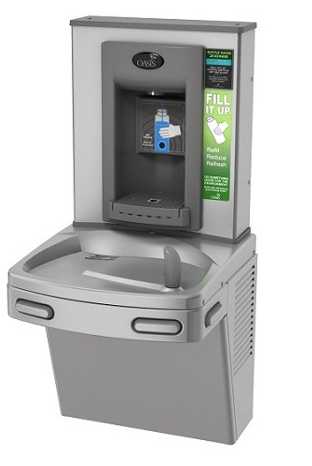 Oasis PGFEBF CSTN Drinking Fountain and Electronic Bottle Filler with Hands Free Activation, Antimicrobial Copper, Filtered, Non-Refrigerated, Stainless Steel