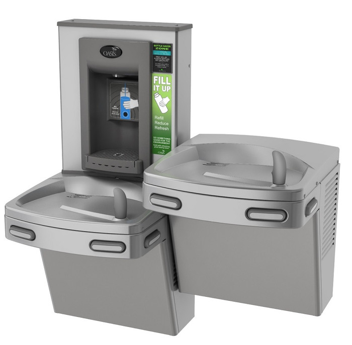Oasis PGEBFSL CSTN Drinking Fountain and Electronic Bottle Filler with Hands Free Activation, Bi-Level, Antimicrobial Copper, Non-Filtered, Non-Refrigerated, Stainless Steel