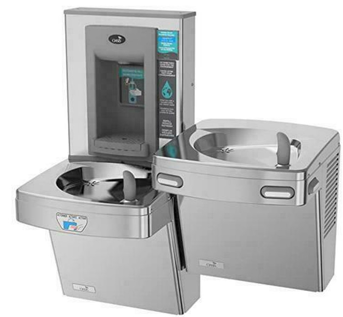 Oasis PGFEBFSLTM CSTN Contactless Bi-Level Drinking Fountain with Electronic Sports Bottle Filler, Only One Unit is Sensor Activated, Antimicrobial Copper, Filtered, Non-Refrigerated, Stainless Steel