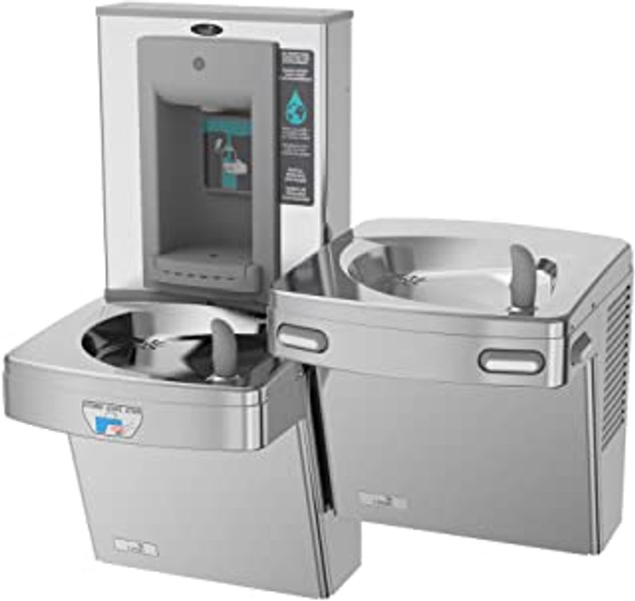 Oasis PGFSBFSLTM CSTN Contactless Bi-Level Drinking Fountain with Mechanical Sports Bottle Filler, Only One Unit is Sensor Activated, Antimicrobial Copper, Filtered, Non-Refrigerated, Stainless Steel