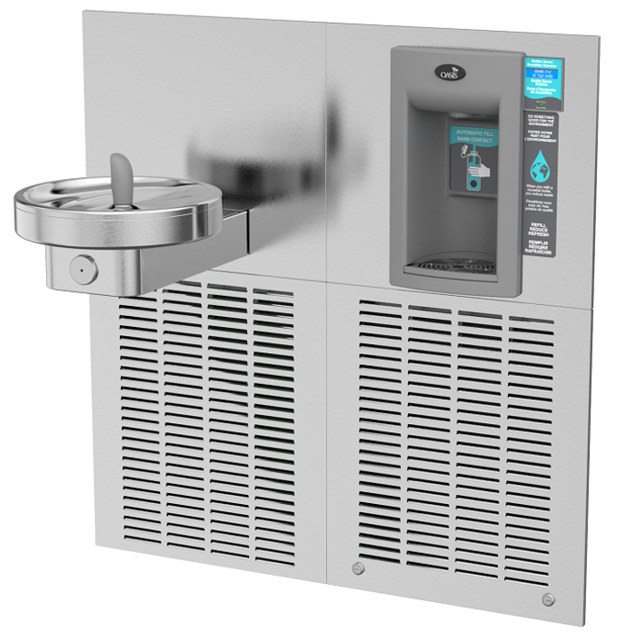 Oasis MEBF RADII Modular Drinking Fountain with VersaFiller Hands Free Electronic Sports Bottle Filler, ADA, 8 GPH, Green Filtration, Non-Refrigerated