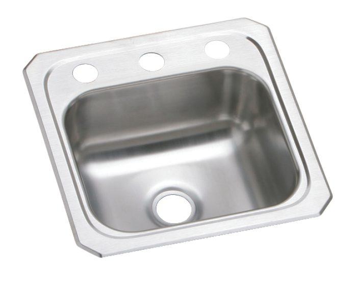 "Elkay BCR15 Celebrity Stainless Steel 15"" x 15"" x 6-1/8"", Single Bowl Drop-in Bar Sink"