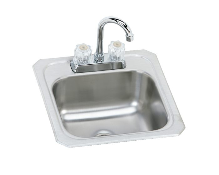 """Elkay BCRA150C Celebrity Stainless Steel 15"""" x 15"""" x 6-1/8"""", Single Bowl Drop-in Bar Sink with Faucet Kit"""