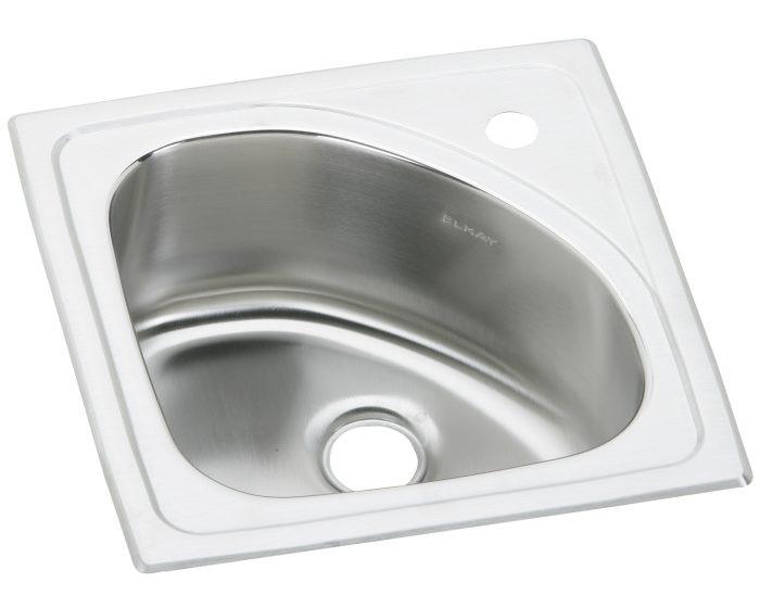 "Elkay BLGR15151 Lustertone Classic Stainless Steel 15"" x 15"" x 6-1/2"", 1-Hole Single Bowl Drop-in Bar Sink"