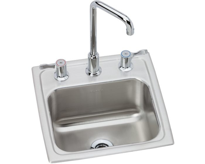 """Elkay BLH15C Lustertone Classic Stainless Steel 15"""" x 15"""" x 7-1/8"""", 3-Hole Single Bowl Drop-in Bar Sink with Faucet Kit"""
