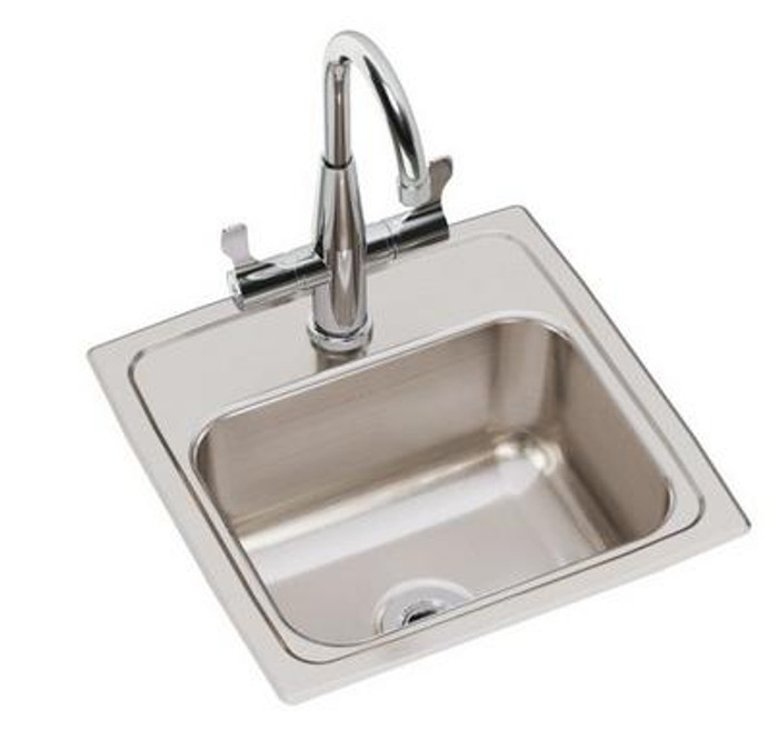 """Elkay BLR150C Lustertone Classic Stainless Steel 15"""" x 15"""" x 7-1/8"""", 1-Hole Single Bowl Drop-in Bar Sink with Faucet Kit"""