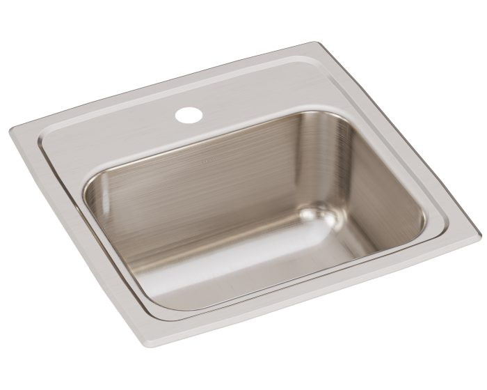 """Elkay BLR151 Lustertone Classic Stainless Steel 15"""" x 15"""" x 7-1/8"""", 1-Hole Single Bowl Drop-in Bar Sink with 2"""" Drain"""