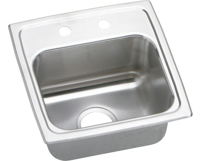 """Elkay BLRQ1516 Lustertone Classic Stainless Steel 15"""" x 15"""" x 7-1/8"""", Single Bowl Drop-in Bar Sink with Quick-clip and 3-1/2"""" Drain"""