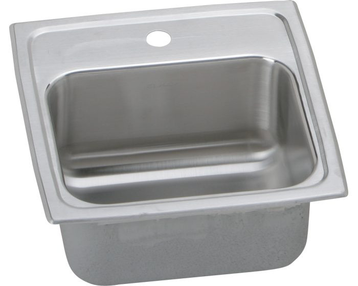"""Elkay BLRQ1560 Lustertone Classic Stainless Steel 15"""" x 15"""" x 6-1/8"""", Single Bowl Drop-in Bar Sink with Quick-clip"""