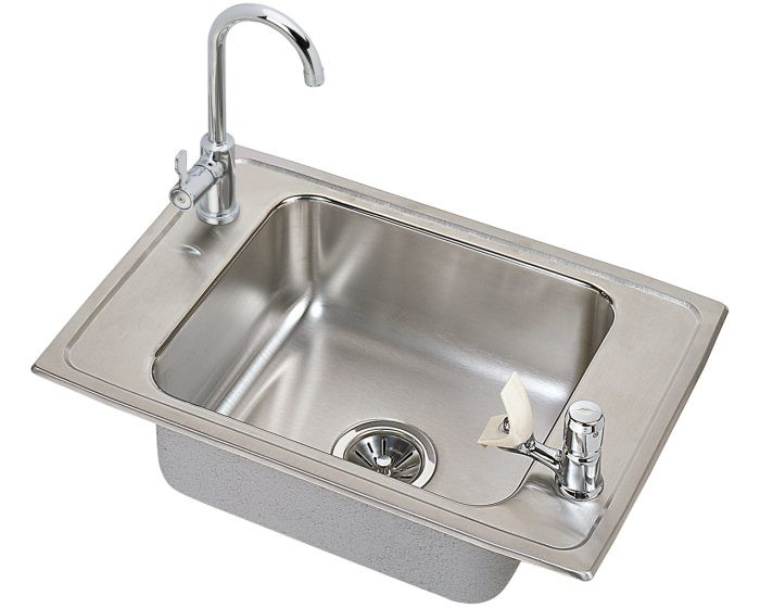 """Elkay CDKAD251765C Celebrity Stainless Steel 25"""" x 17"""" x 6-1/2"""", 2-Hole Single Bowl Drop-in Classroom ADA Sink and Faucet Kit"""