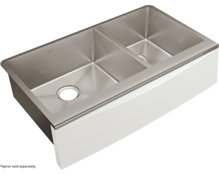 """Elkay CTXF234179 Crosstown 16 Gauge Stainless Steel 35-7/8"""" x 20-5/16"""" x 9"""" Double Bowl Farmhouse Sink for Interchangeable Apron (Apron Not Included)"""