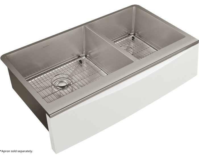 """Elkay CTXF234179C Crosstown 16 Gauge Stainless Steel 35-7/8"""" x 20-5/16"""" x 9"""" Double Bowl Farmhouse Sink Kit for Interchangeable Apron (Apron Not Included)"""