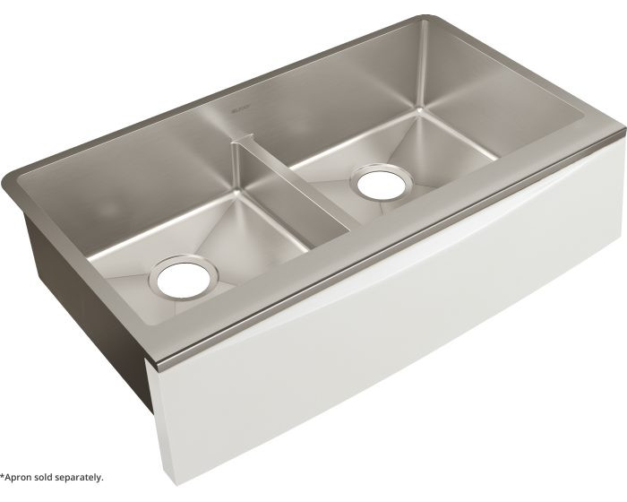 """Elkay CTXFA34179 Crosstown 16 Gauge Stainless Steel 35-7/8"""" x 20-5/16"""" x 9"""" Double Bowl Farmhouse Sink with Aqua Divide for Interchangeable Apron (Apron Not Included)"""