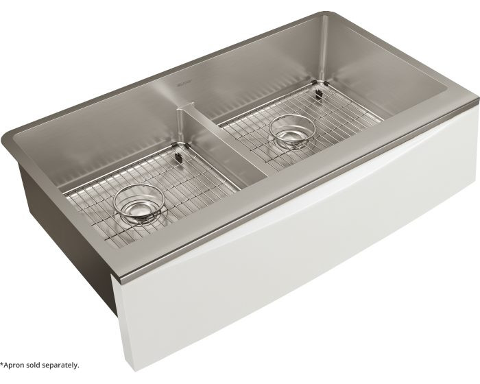 """Elkay CTXFA34179C Crosstown 16 Gauge Stainless Steel 35-7/8"""" x 20-5/16"""" x 9"""" Double Bowl Farmhouse Sink Kit with Aqua Divide for Interchangeable Apron (Apron Not Included)"""