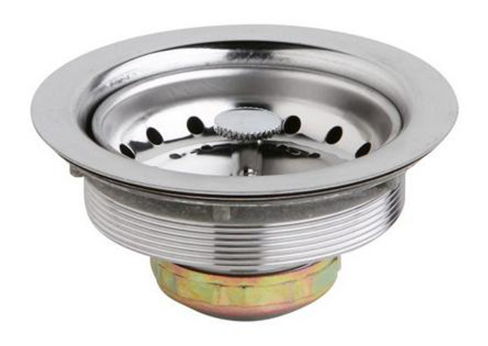 """Elkay D1125 Dayton 3-1/2"""" Stainless Steel Drain with Removable Basket Strainer and Rubber Stopper"""