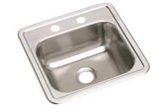 """Elkay D11515 Dayton Stainless Steel 15"""" x 15"""" x 5-3/16"""", Single Bowl Drop-in Bar Sink with 2"""" Drain Opening"""