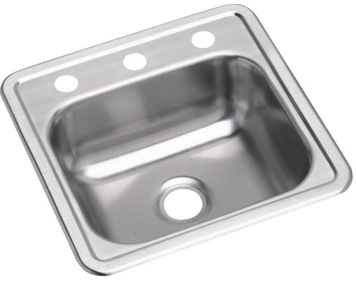 """Elkay D11516 Dayton Stainless Steel 15"""" x 15"""" x 5-3/16"""", Single Bowl Drop-in Bar Sink"""