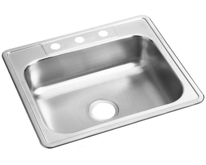 """Elkay D12521 Dayton Stainless Steel 25"""" x 21-1/4"""" x 6-9/16"""", Single Bowl Drop-in Sink"""
