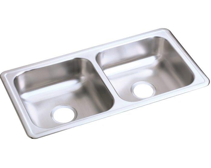 "Elkay D23317 Dayton Stainless Steel 33"" x 17"" x 6"", Equal Double Bowl Drop-in Sink"