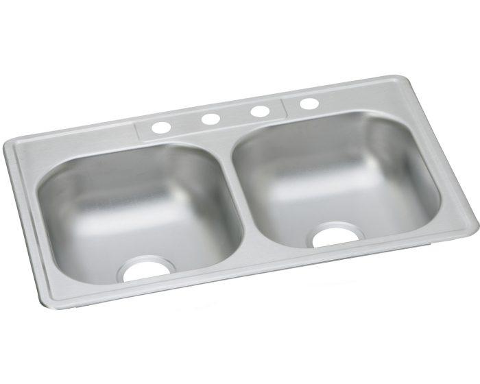 "Elkay D23321 Dayton Stainless Steel 33"" x 21-1/4"" x 6-9/16"", Equal Double Bowl Drop-in Sink"
