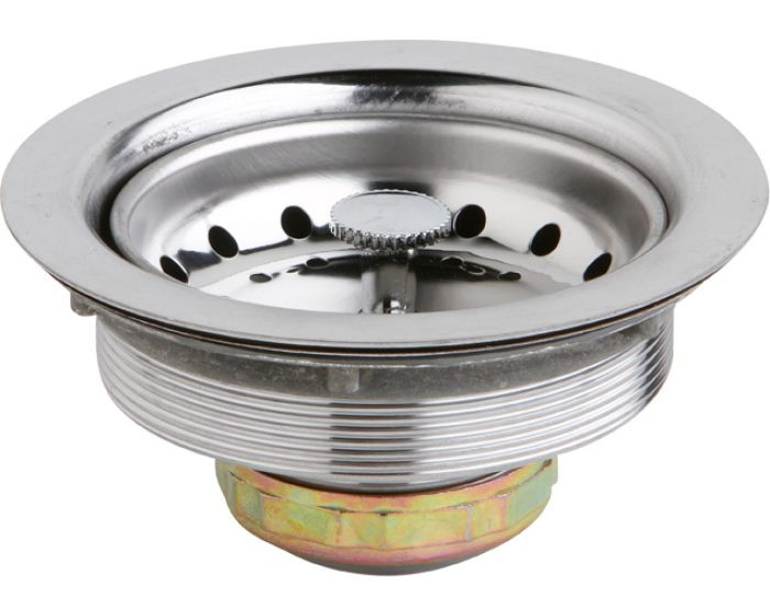 """Elkay D361125 Dayton 3-1/2"""" Stainless Steel Drain with Removable Basket Strainer and Rubber Stopper"""