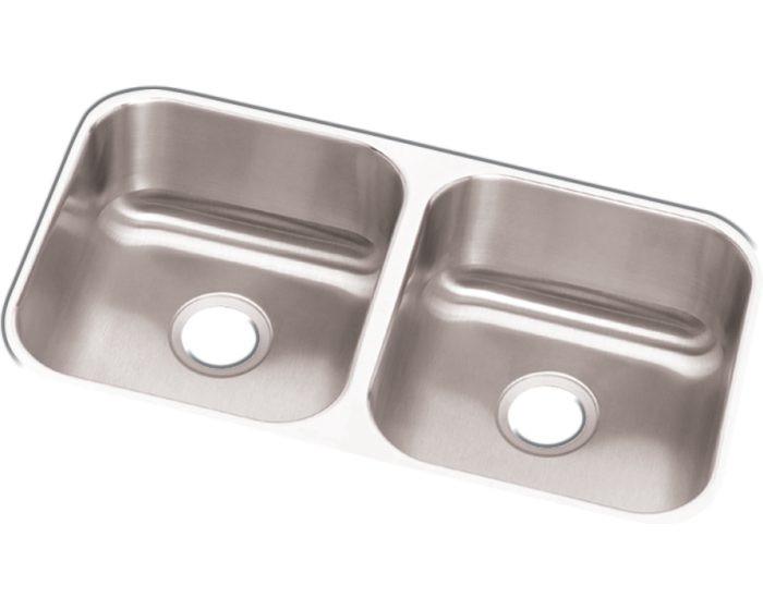 "Elkay DCFU3118 Dayton Stainless Steel 31-3/4"" x 18-1/4"" x 8"", Equal Double Bowl Undermount Sink"