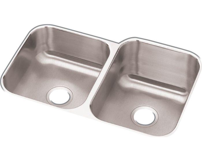 "Elkay DCFU312010L Dayton Stainless Steel 31-3/4"" x 20-1/2"" x 10"", 40/60 Double Bowl Undermount Sink"