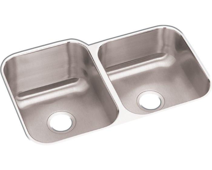 "Elkay DCFU312010R  Dayton Stainless Steel 31-3/4"" x 20-1/2"" x 10"", 60/40 Double Bowl Undermount Sink"