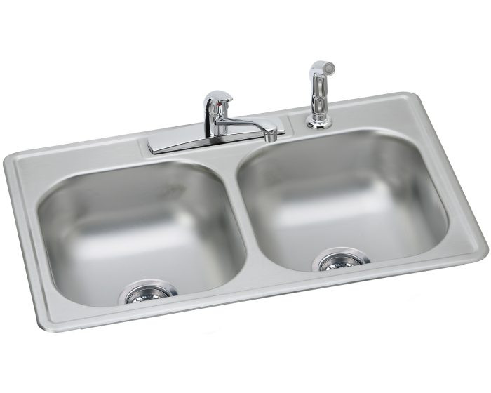 """Elkay DD233224DF Dayton Stainless Steel 33"""" x 22"""" x 7-1/16"""", 4-Hole Equal Double Bowl Drop-in Sink and Faucet Kit"""
