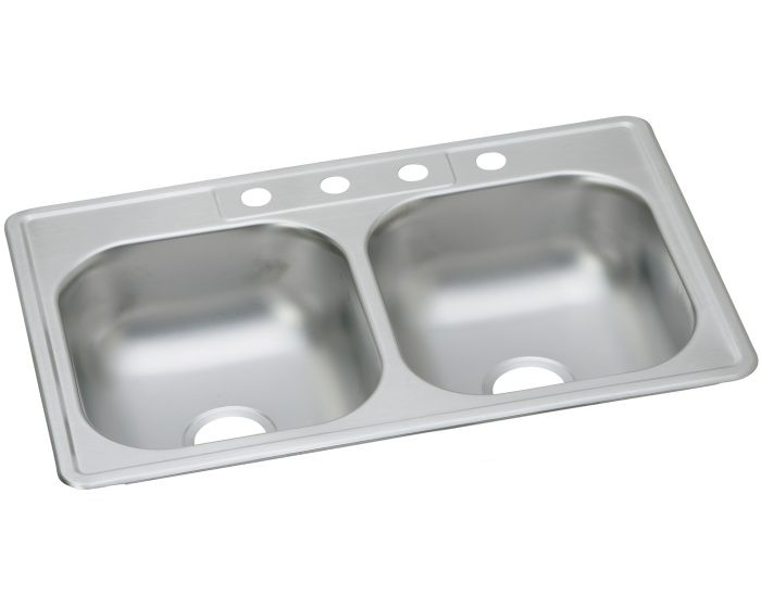 "Elkay DDW1023322 Dayton Stainless Steel 33"" x 22"" x 7-1/16"", Equal Double Bowl Drop-in Sink"