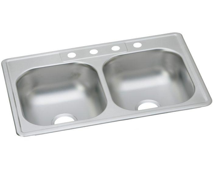 "Elkay DDW5023322 Dayton Stainless Steel 33"" x 22"" x 7-1/16"", Equal Double Bowl Drop-in Sink"