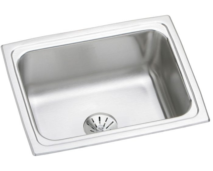 """Elkay DLFR251910PD Lustertone Stainless Steel 25"""" x 19-1/2"""" x 10-1/8"""", Single Bowl Drop-in Sink with Perfect Drain"""