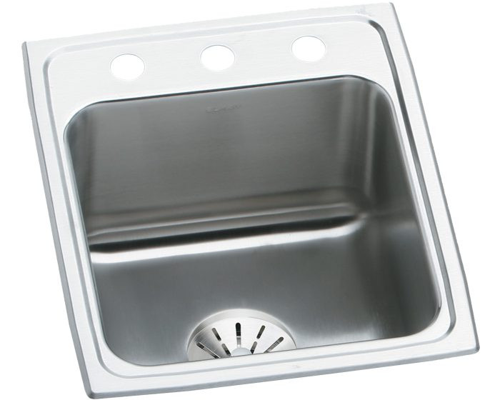 """Elkay DLR172210PD Lustertone Stainless Steel 17"""" x 22"""" x 10-1/8"""", Single Bowl Drop-in Sink with Perfect Drain"""
