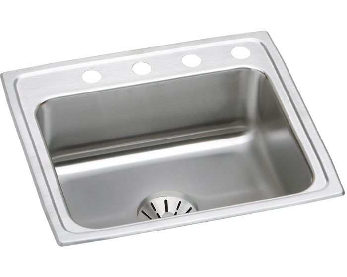 """Elkay DLR221910PD Lustertone Stainless Steel 22"""" x 19-1/2"""" x 10-1/8"""", Single Bowl Drop-in Sink with Perfect Drain"""