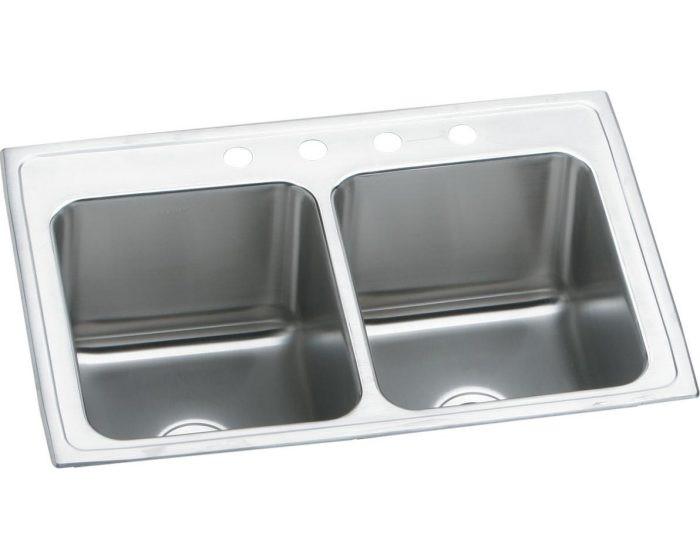 "Elkay DLR251910 Lustertone Stainless Steel 25"" x 19-1/2"" x 10-1/8"", Equal Double Bowl Drop-in Sink"