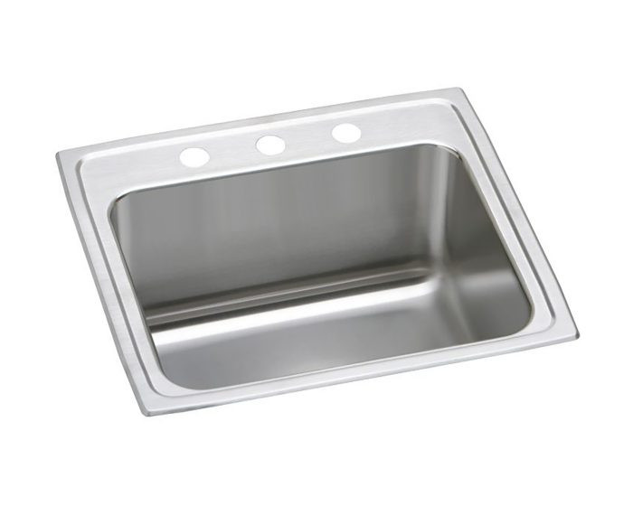 """Elkay DLR252110PD Lustertone Stainless Steel 25"""" x 21-1/4"""" x 10-1/8"""", Single Bowl Drop-in Sink with Perfect Drain"""