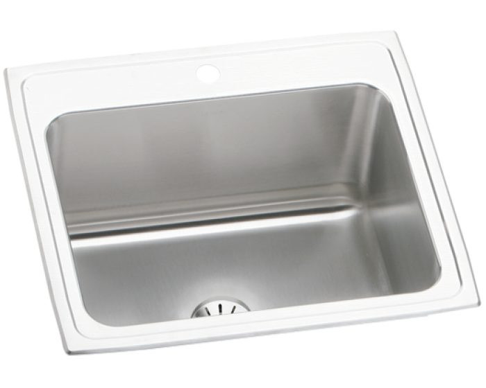 """Elkay DLR252210PD Lustertone Stainless Steel 25"""" x 22"""" x 10-3/8"""", Single Bowl Drop-in Sink with Perfect Drain"""