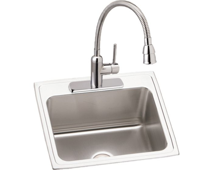 """Elkay DLR252212C Lustertone Stainless Steel 25"""" x 22"""" x 12-1/8"""", 3-Hole Single Bowl Drop-in Sink and Faucet Kit"""