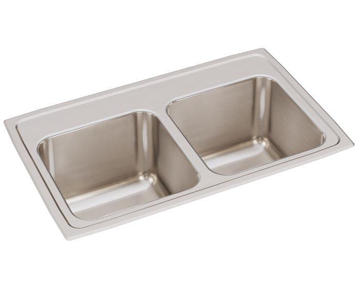 "Elkay DLR291810 Lustertone Stainless Steel 29"" x 18"" x 10"", Equal Double Bowl Drop-in Sink"