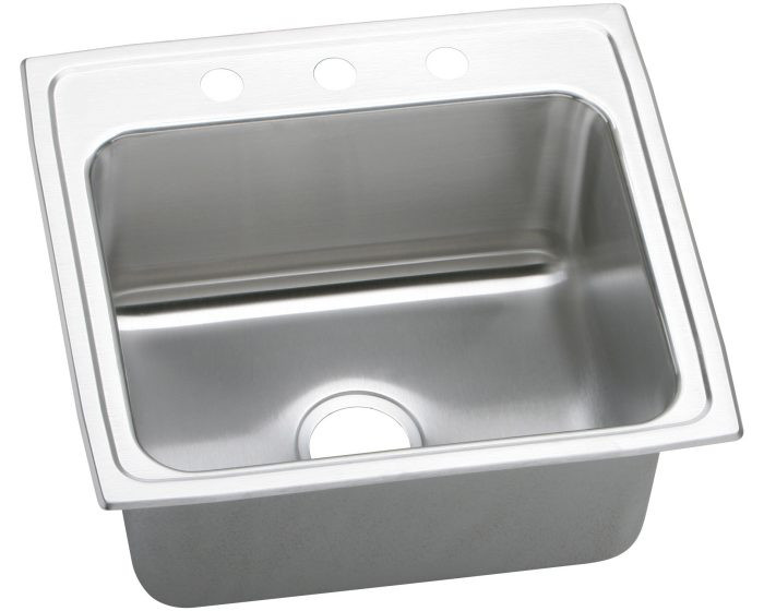 """Elkay DLRQ221910 Lustertone Stainless Steel 22"""" x 19-1/2"""" x 10-1/8"""", Single Bowl Drop-in Sink with Quick-clip"""