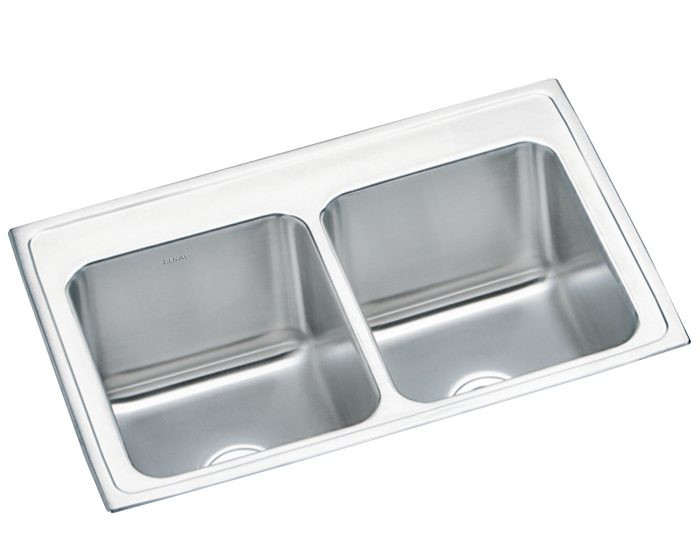 """Elkay DLRQ332210 Lustertone Stainless Steel 33"""" x 22"""" x 10-1/8"""", Equal Double Bowl Drop-in Sink with Quick-clip"""