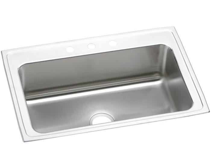 "Elkay DLRS332210 Lustertone Stainless Steel 33"" x 22"" x 10-1/8"", Single Bowl Drop-in Sink"