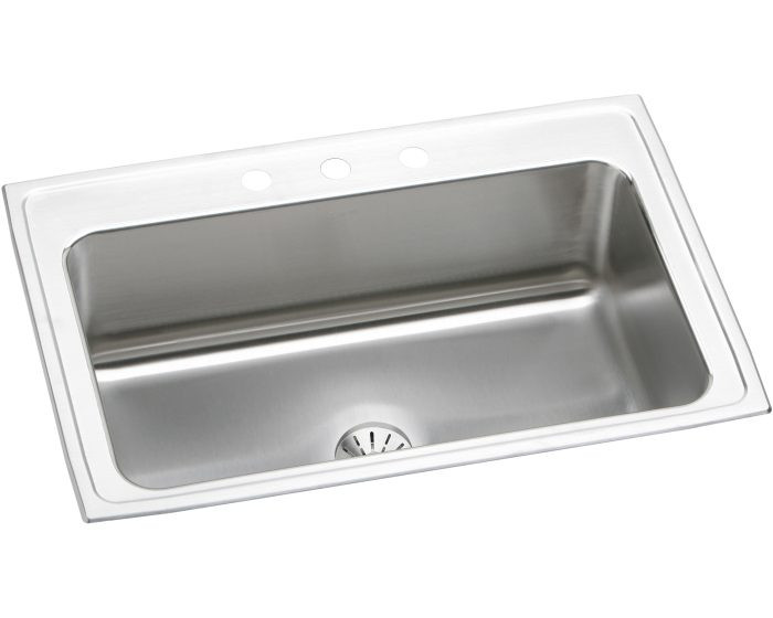"""Elkay DLRS332210PD Lustertone Stainless Steel 33"""" x 22"""" x 10"""", Single Bowl Drop-in Sink with Perfect Drain"""