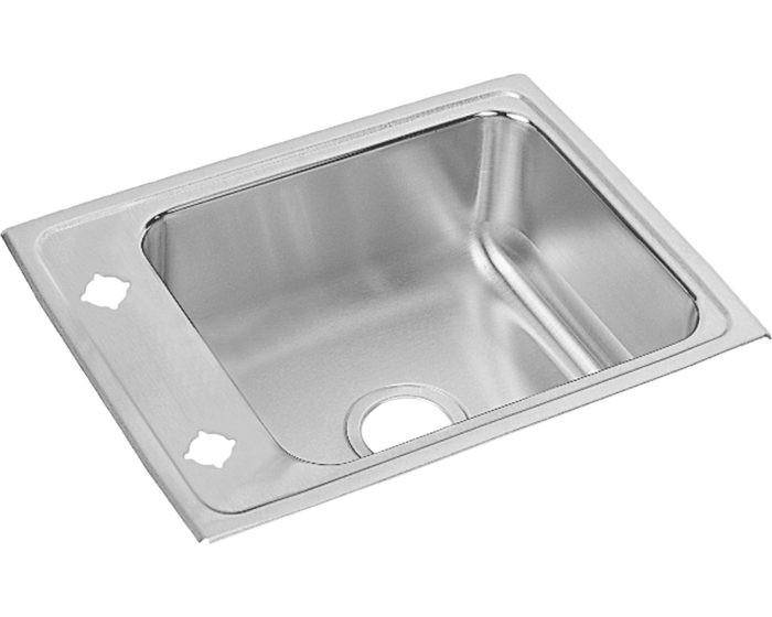 "Elkay DRKAD221765 Lustertone Stainless Steel 22"" x 17"" x 6-1/2"", Single Bowl Drop-in Classroom ADA Sink"